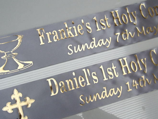 First Holy Communion Banner - Silver & Gold